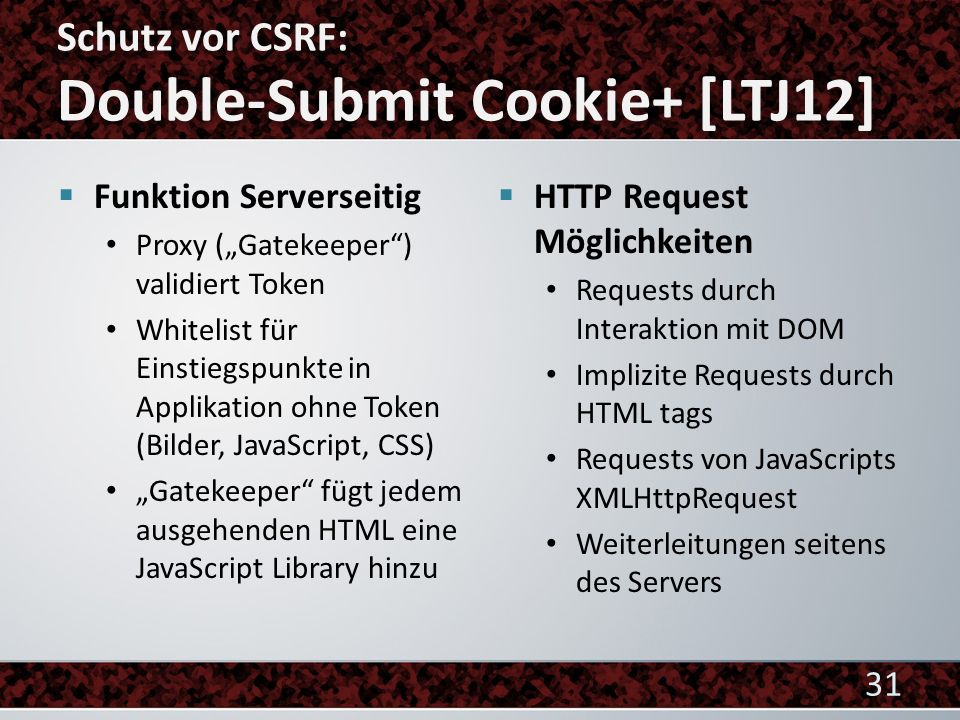 Schutz vor CSRF: Double-Submit Cookie+ [LTJ12]